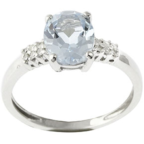 bague diamants aigue marine