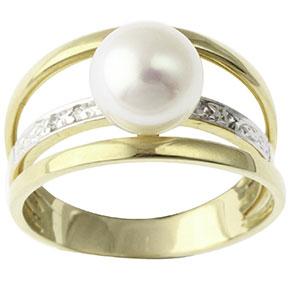 bague perle diamants