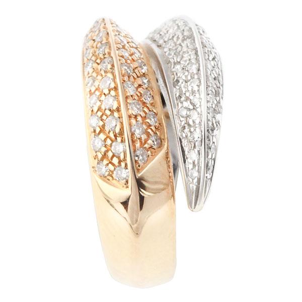 Bague Diamants, Or Blanc et Or Rose