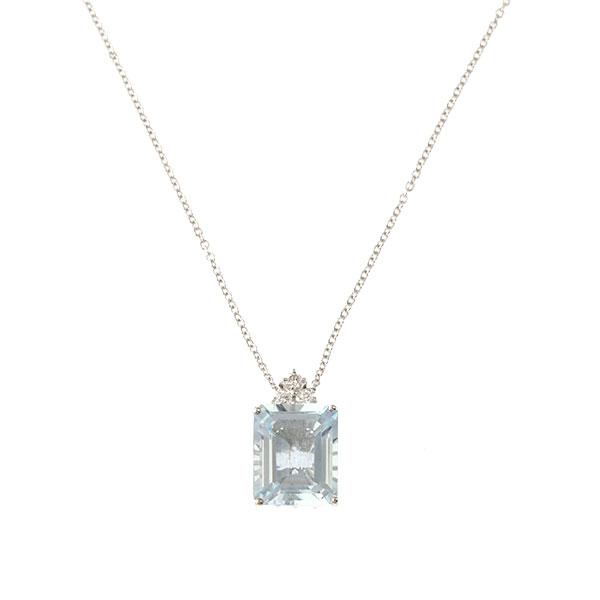Pendentif Aigue Marine, Diamants, Or Blanc, Cha