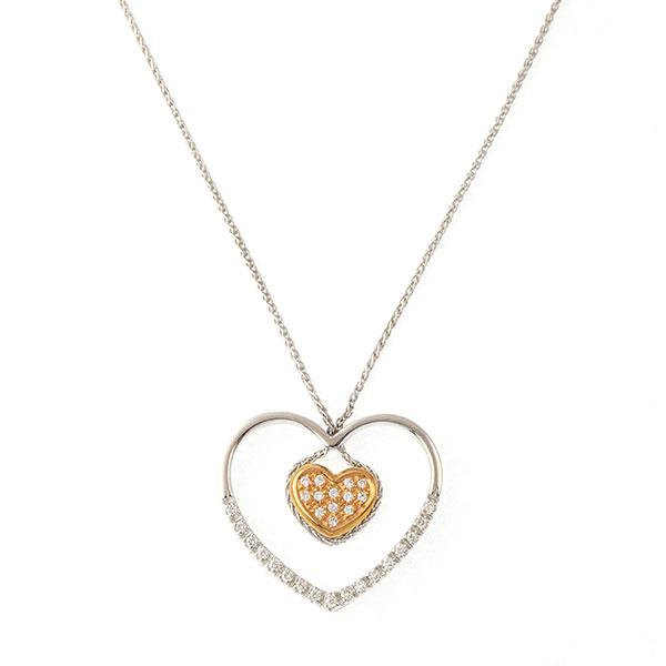 Pendentif Diamants, Or Blanc et Or Rose, Cha