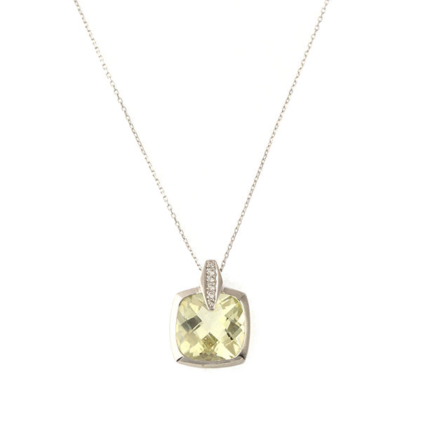 Pendentif Quartz Lemon, Diamants, Or Blanc, Cha
